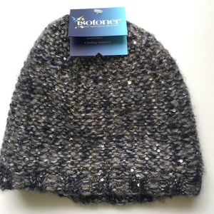 Isotoner Metallic Knit Fleece Lined Hat, NWT